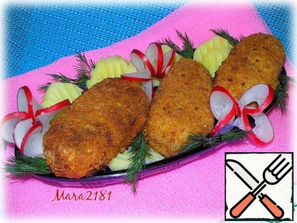 """""""Breaded fish sausages"""" are ready! Serve with sour cream sauce, and on the side I have today boiled potatoes with radishes and dill."""