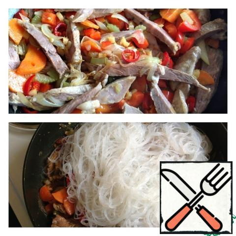 """Then add salt, sugar and vinegar. Stir. Add funchoza and mix well again. Leave for a couple of minutes to stew, so that all """"friends""""."""