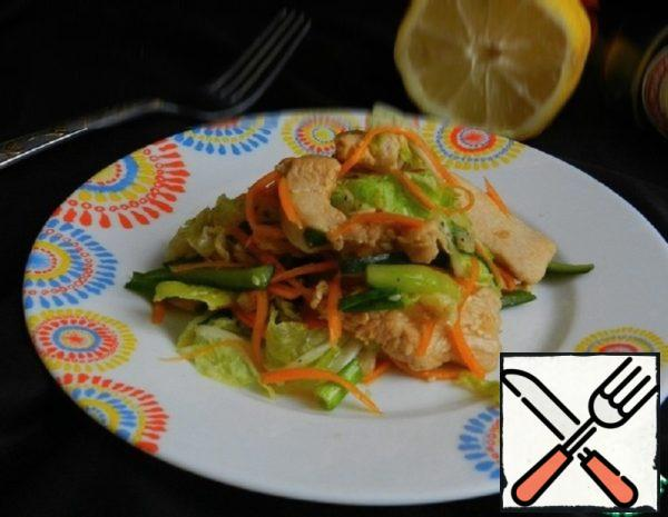 Vegetable Salad with Ginger Chicken Recipe