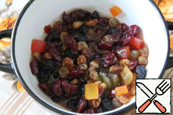 Soak candied fruits and raisins in rum or cognac (preferably the day before).