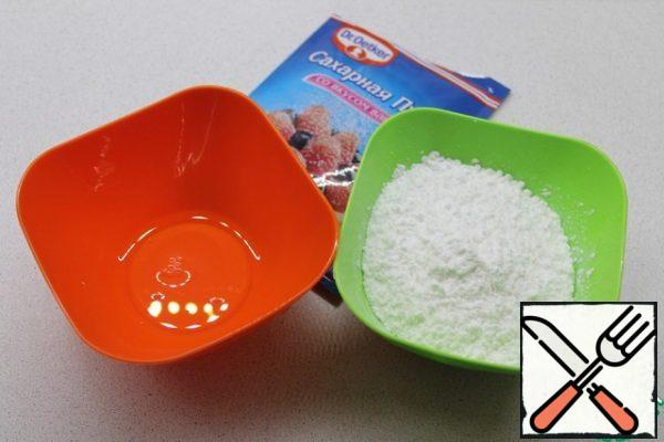 If you want to decorate your Easter cake as well as I do, for this we need to prepare in advance sugar eggs. For this you need to measure out 10 grams of protein and 110 grams of powdered sugar that you have to sift through.