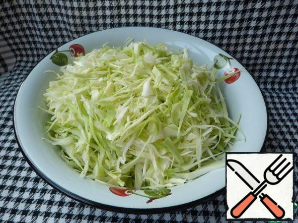 Chop the cabbage. Lightly sprinkle with salt and grind.