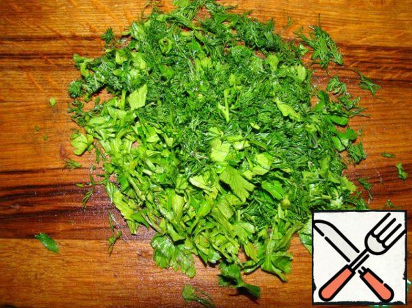 Cut into small greens. My family is very fond of parsley and dill.