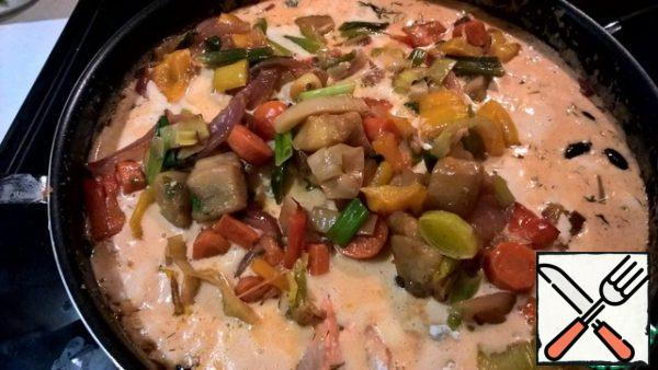 Top in a frying pan, put a side dish of Ratatouille. Can be served directly in the pan - so everyone got their plate.