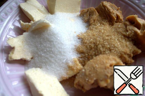In peanut butter add soft butter and both types of sugar (in the original sugar was more).