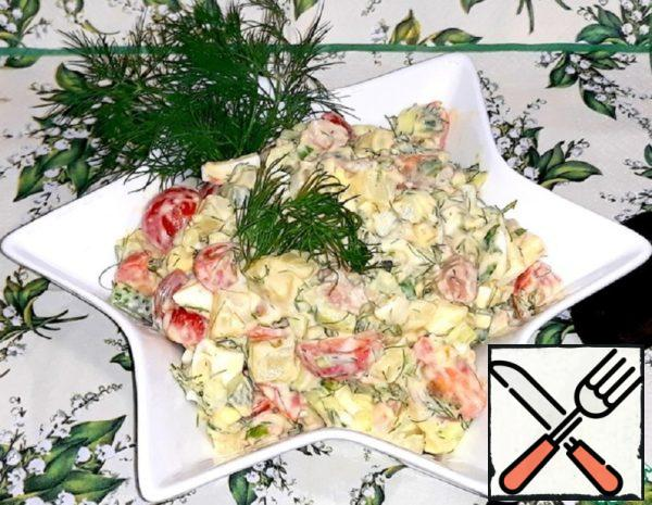 Cod Liver Salad with Vegetables Recipe