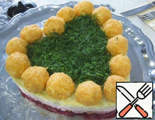 Layered Salad with Carrot Balls Recipe