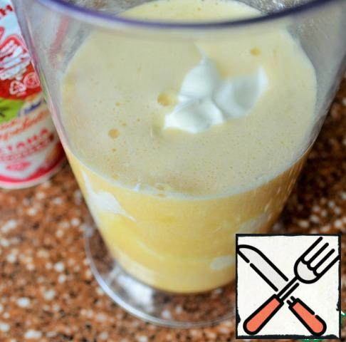 Add sour cream and stir until smooth.