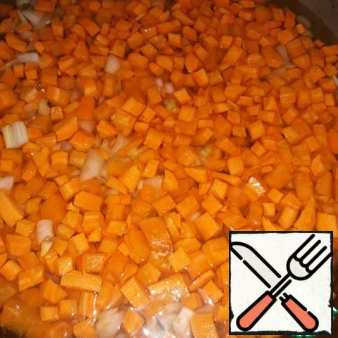 Cut onions and carrots into squares. Simmer for 5 minutes;