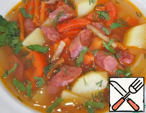 Spicy Spanish Soup with Sausages Recipe