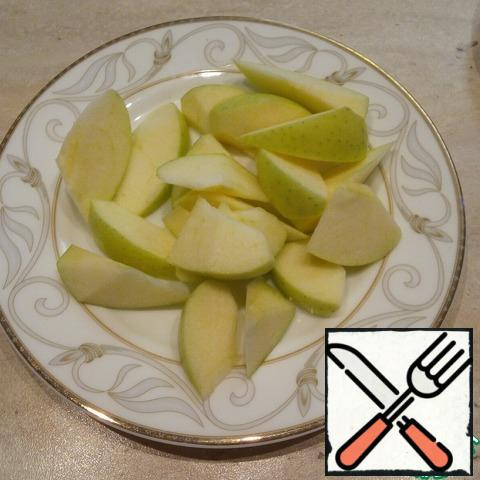 Apple cut into small slices.
