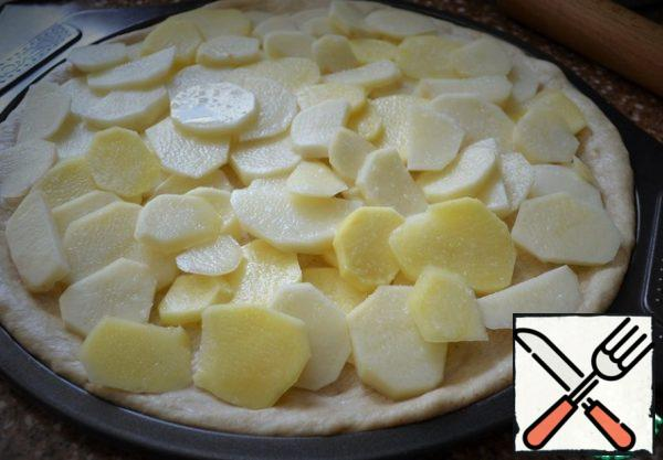 Turn on the oven for heating. Put the dough in a pizza form or on a baking sheet, forming a small bumpers. On him lay the potatoes, salt.