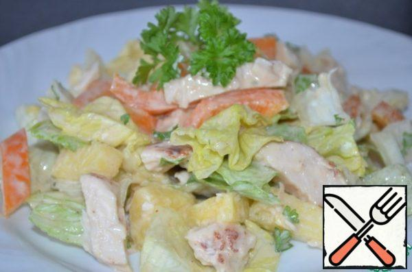 And you can just mix everything with the sauce and put in a salad bowl. I like it better this way. The next day, the salad is better not to leave. This time I cooked a big portion, for a whole crowd! In the recipe give the original amount of ingredients.