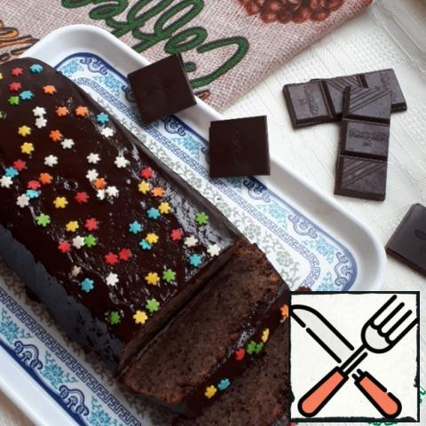 To give the cupcake a beautiful look, pour its glaze.3 tbsp milk to heat, add broken chocolate and stir well, all the icing ready. Serve this cake can be with a scoop of ice cream. I really liked this chocolate cake, and I recommend you to cook it.