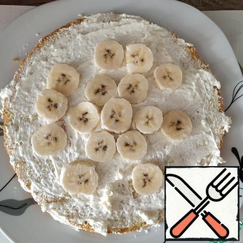 Putting pieces of banana.