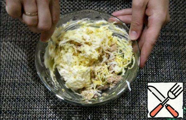 Mix all ingredients with mayonnaise.