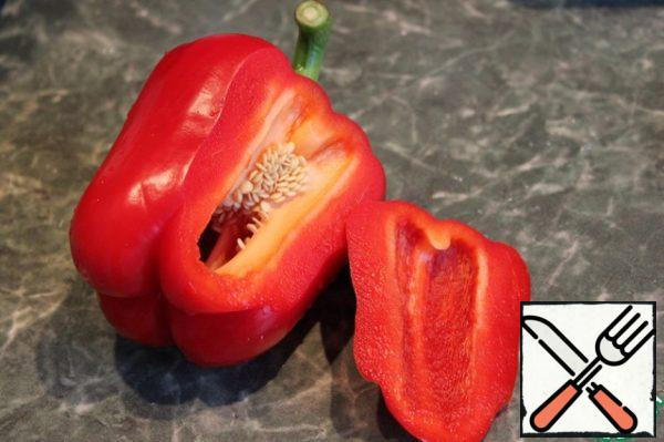 Eggplant and peppers with olive oil and bake in the oven at 200* for 30 minutes. The pepper that I cut a piece for decoration.