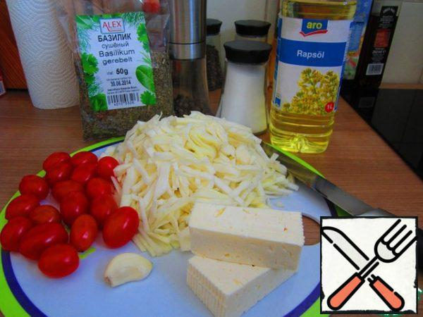 The ingredients required for the salad.