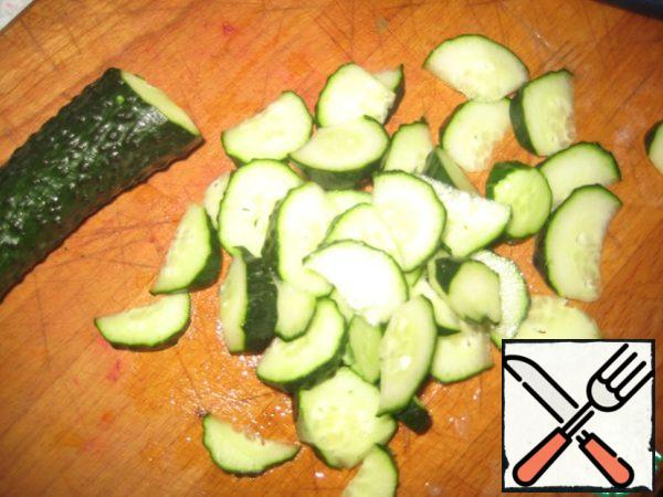 Cucumbers cut into large slices.