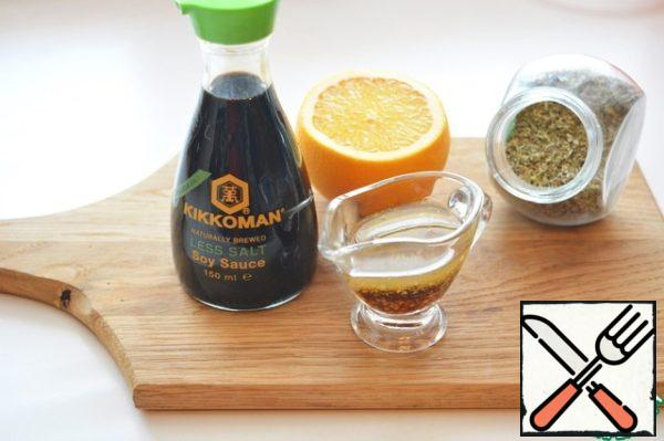 For dressing, mix soy sauce, orange juice and zest, butter, granular mustard and Italian herbs.