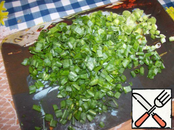 Green onions, also finely chop.