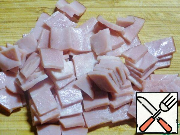 Ham cut into small cubes.