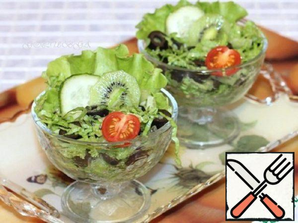 Salad with Cucumbers, Olives and Kiwi Recipe