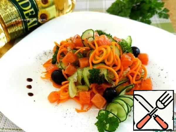 Carrot Salad with Cucumber and Trout Recipe