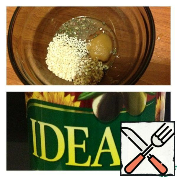 Make dressing: mix butter, salt, pepper, Basil, honey and sesame. Season the salad and mix.