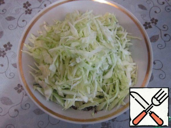 Chop a small head of cabbage into strips.