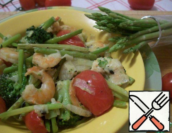 Shrimp with Asparagus and Cream Recipe