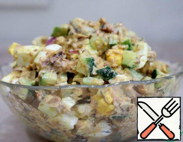 Salad with Fish, Egg and Cucumber Recipe