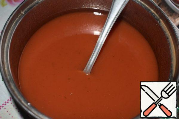 For marinade mix water, ketchup, salt and sugar.