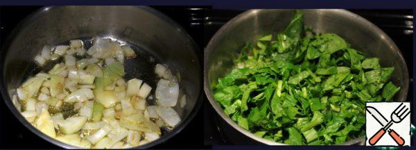 Until the fish is infused saute onions along with the spinach on low heat.