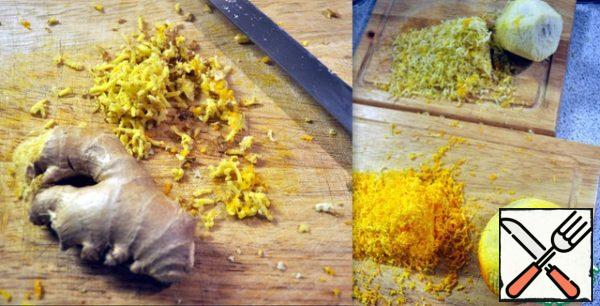 Rub one tablespoon of ginger and citrus peel, mix.