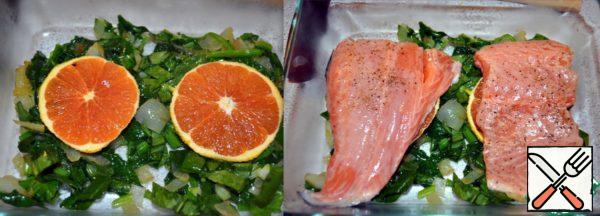 In a baking dish put layers of onions, spinach, orange slices and fish, sprinkle with citrus and ginger mixture.