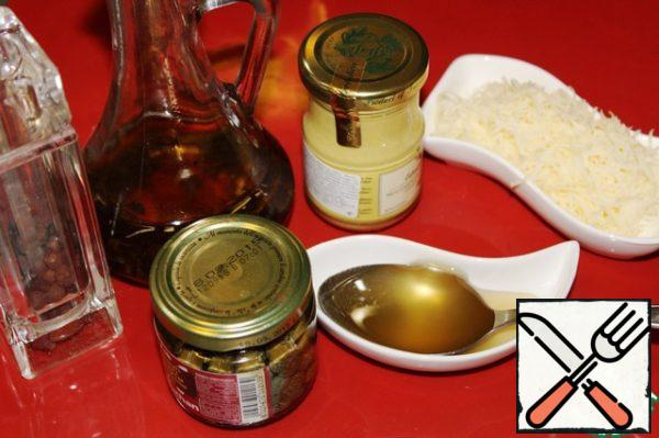 Products for the preparation of salad dressing. I used Dijon mustard, but in its absence, you can use any other.