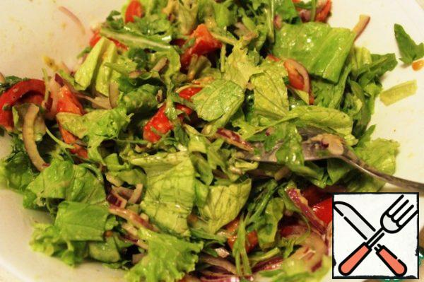 Fill vegetables with dressing (leave a couple of spoons) and mix.