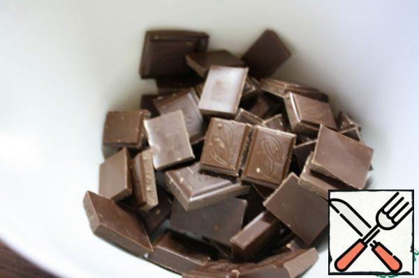 Break the chocolate ( I use dark if milk — increase by 15% the amount).