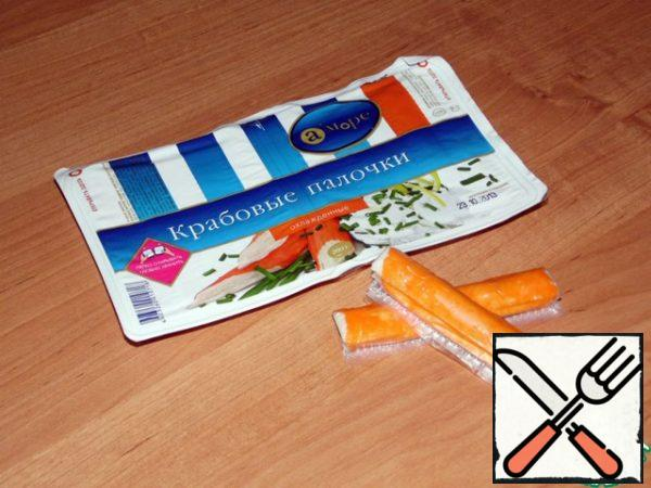 Crab sticks cut into small pieces.