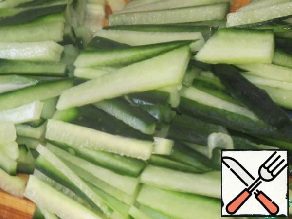 Cucumber cut into thin strips 4 x 0.5 cm.
