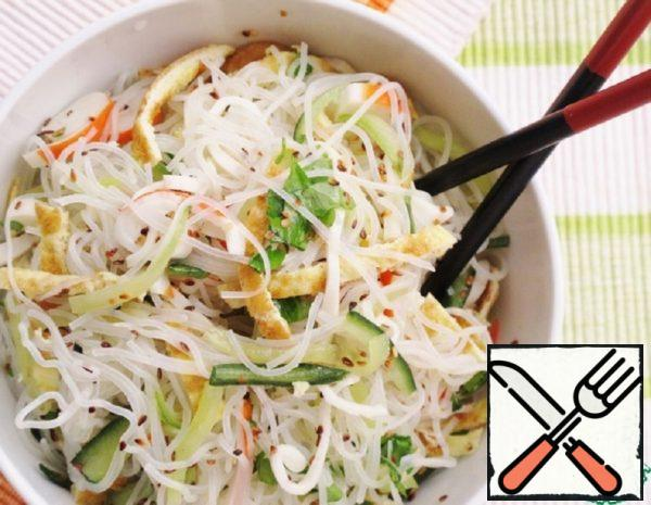 Rice Noodles with Crab Sticks and Cucumber Recipe