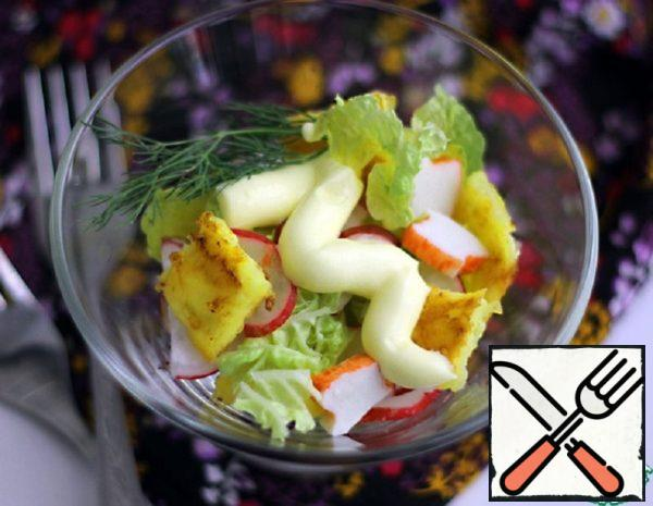 Salad with Crab Sticks and Cheese Omelette Recipe