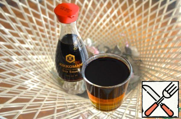 Soy sauce mix with honey.