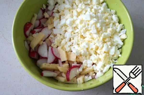 Mix the chopped ingredients together.