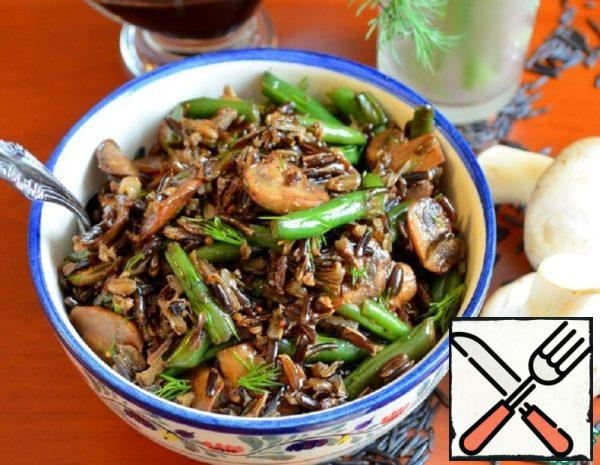 Warm Salad with Rice, Mushrooms and Beans Recipe