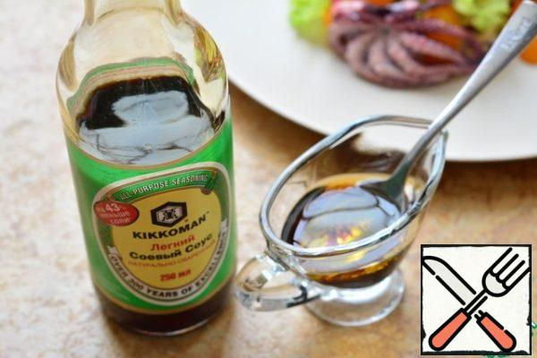Mix soy sauce in equal proportions with butter;