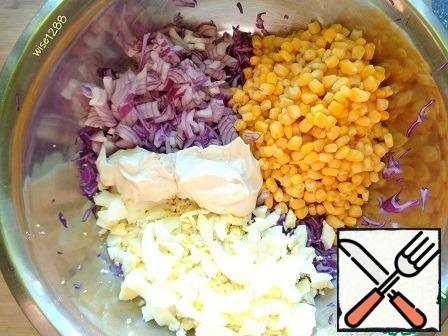 All salad ingredients to combine.
