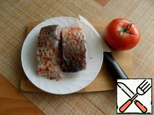 Pieces of fish RUB with salt and pepper. I use ground Cayenne pepper. Can be pepper black or at all not pepper.