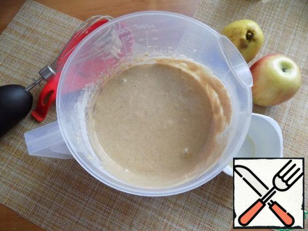 The dough is ready. I'll take one Apple and one pear in the pie. You can take just apples or just pears.